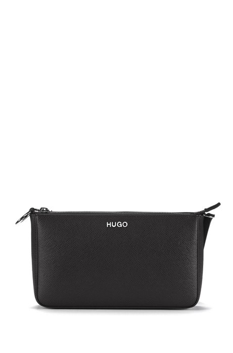 Mini bag in Italian Saffiano leather with adaptable strap, Black