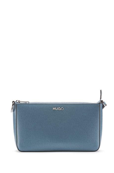 Mini sac en cuir Saffiano italien à bandoulière ajustable, Bleu