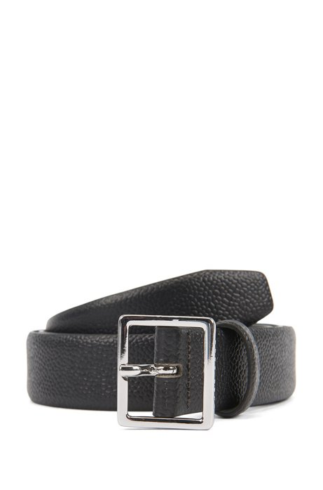 Pin-buckle belt in embossed leather with polished hardware, Black