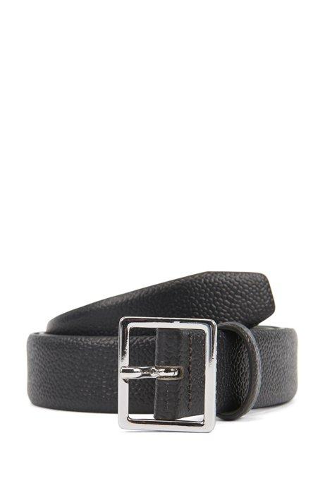 Cinturón de piel repujada con pieza metálica pulida y hebilla de aguja, Negro
