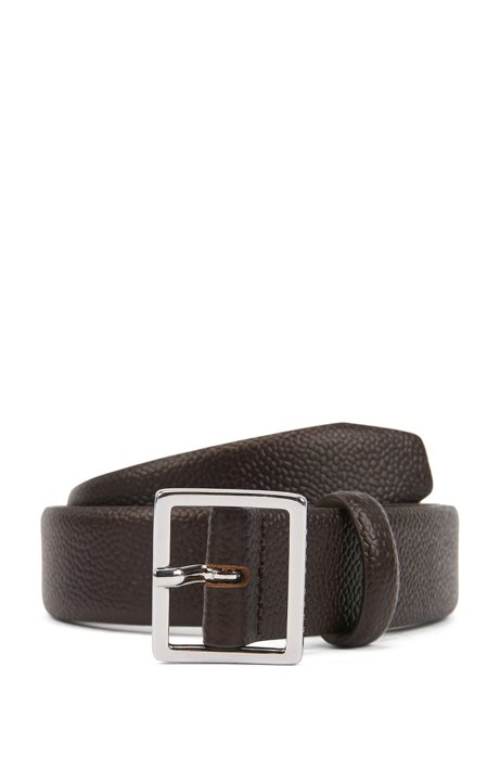 Pin-buckle belt in embossed leather with polished hardware, Brown
