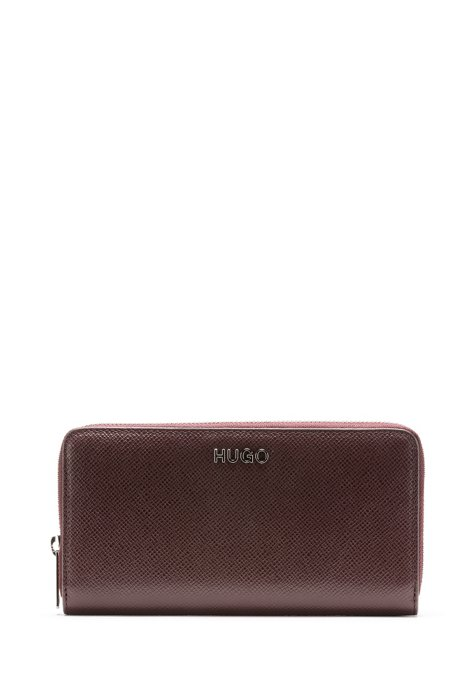 Zip-around wallet in Saffiano leather with logo hardware, Open Red
