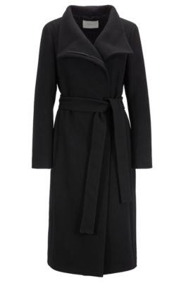 Manteau à col montant en laine texturée mélangée à du cachemire, Noir