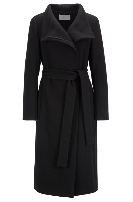 High-neck coat in a textured wool blend with cashmere, Black