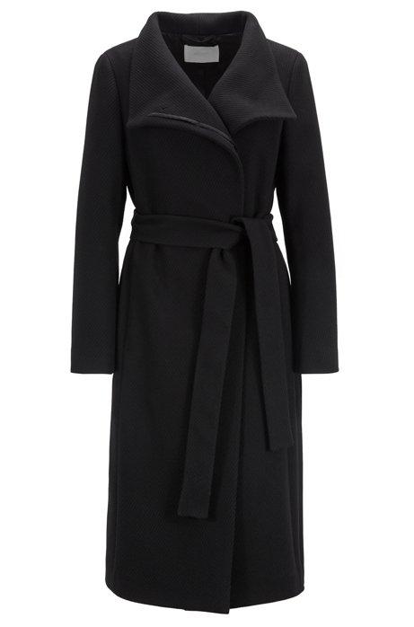 Abrigo de cuello alto en una mezcla de lana con textura y cashmere, Negro
