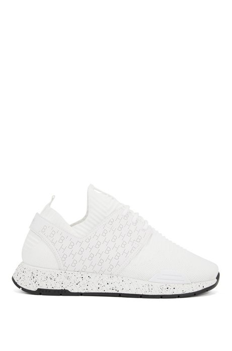 Hybrid trainers with perforated monograms, White