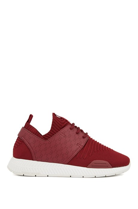 Hybrid trainers with perforated monograms, Dark Red