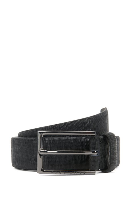 Italian-made belt in leather with embossed structure, Black