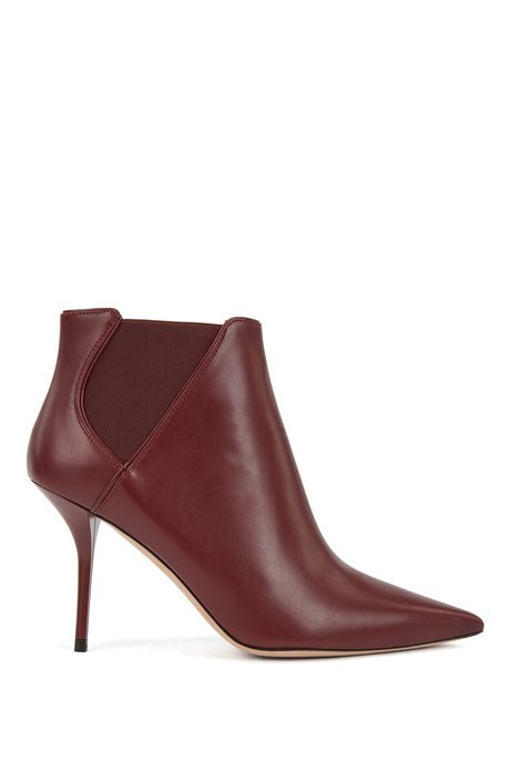High-heeled ankle boots in leather with elasticated panels, Dark Red