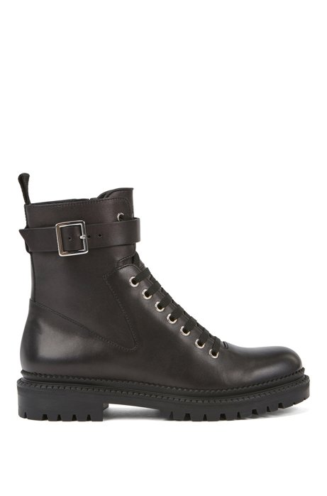 Lace-up ankle boots in brush-off Italian leather, Black