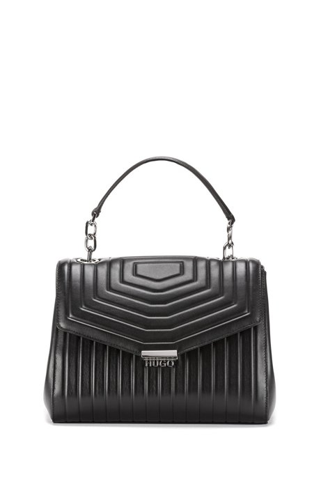 Gesteppte Handtasche aus italienischem Leder mit Metalldetails, Schwarz