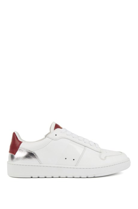 Italian-made trainers in leather with laminated metallic detail, White