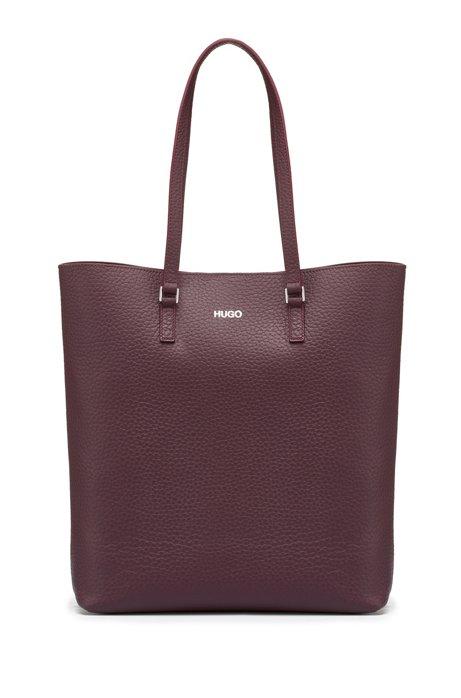 Shopper bag in grained Italian leather, Dark Purple