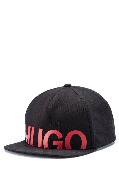 Cappellino snapback in cotone con logo stampato, Nero