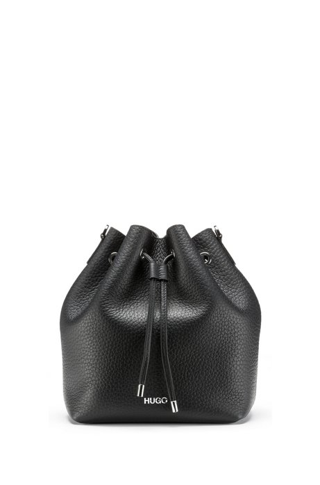Bucket bag in Italian leather with drawstring, Black