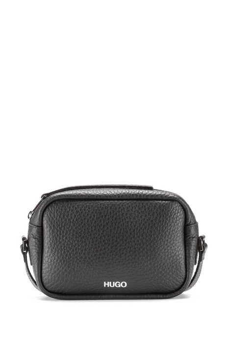 Cross-body bag in grained leather with metal detail, Black