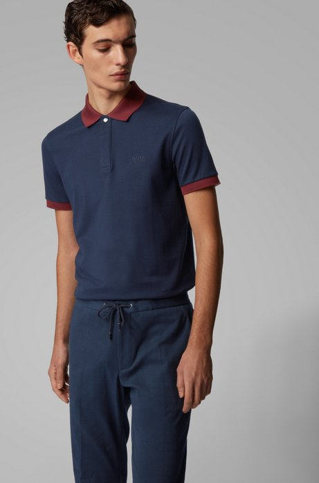 Poloshirt aus Baumwoll-Piqué mit Liquid-Finish, Dunkelblau