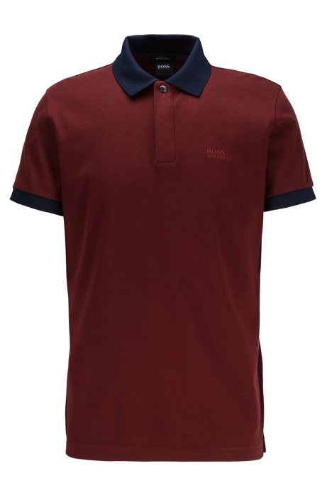 Poloshirt aus Baumwoll-Piqué mit Liquid-Finish, Dunkelrot