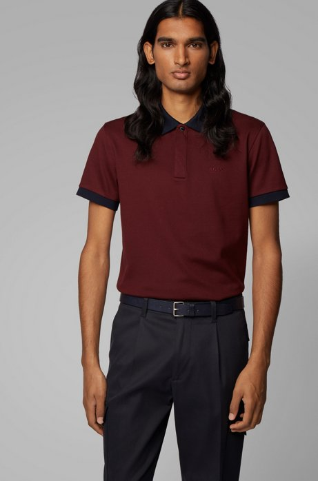 Slim-fit polo shirt in liquid-finish cotton piqué, Dark Red