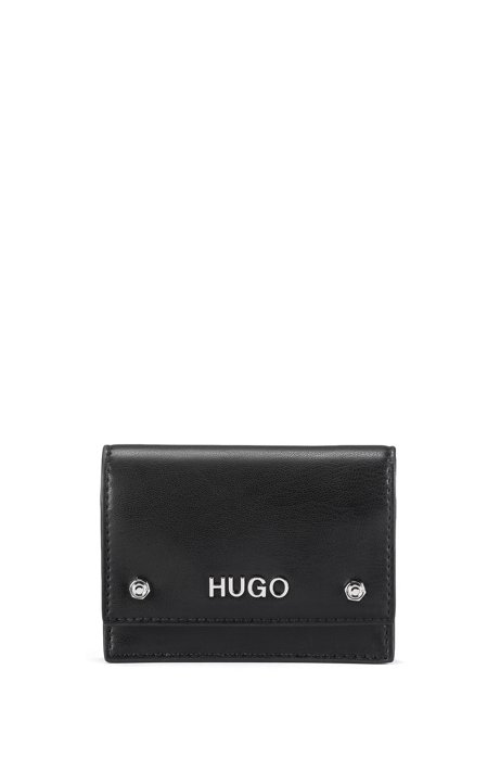 Faux-leather card holder with flap and hardware details, Black