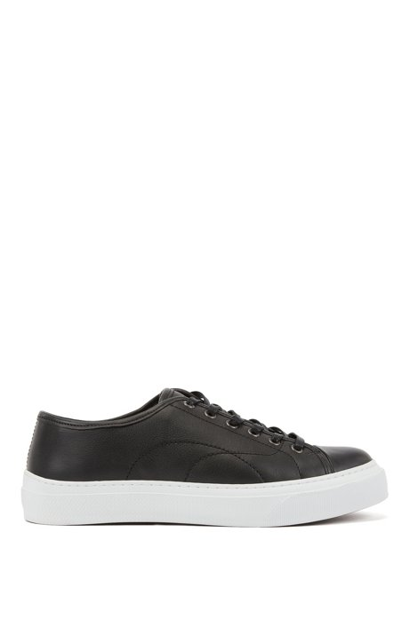 Eco-friendly trainers in tanned grained leather, Black