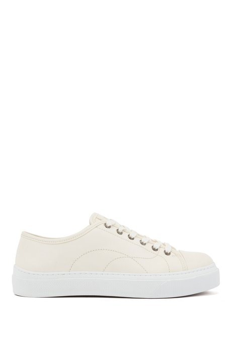 Eco-friendly trainers in tanned grained leather, Natural