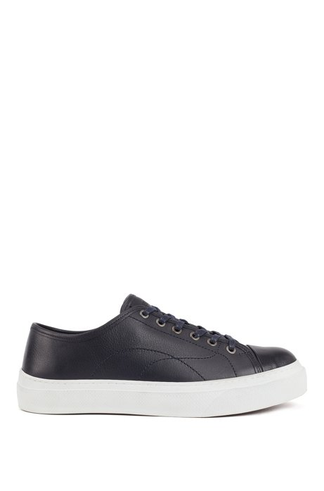 Eco-friendly trainers in tanned grained leather, Dark Blue