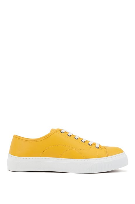 Eco-friendly trainers in tanned grained leather, Yellow