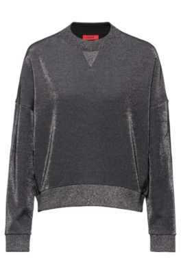 Sweat de survêtement Relaxed Fit en tissu brillant, Gris