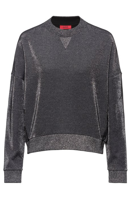 Relaxed-fit tracksuit sweatshirt in sparkly fabric, Grey