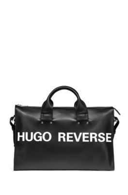 Slogan tote bag in faux leather, Black