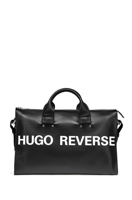 Borsa tote in similpelle con slogan, Nero