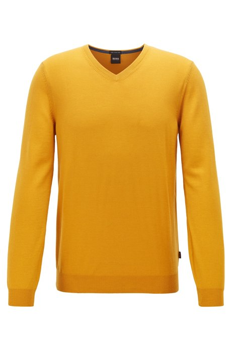 V-neck sweater in virgin wool, Yellow