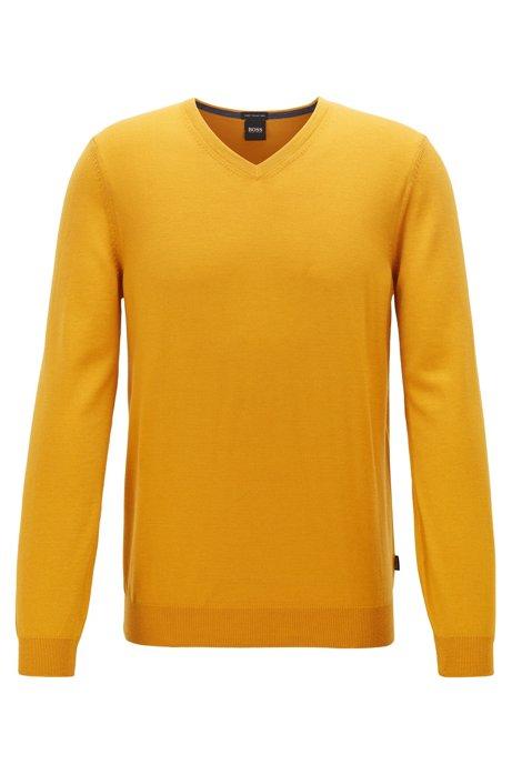 Pullover aus Schurwolle mit V-Ausschnitt, Gelb