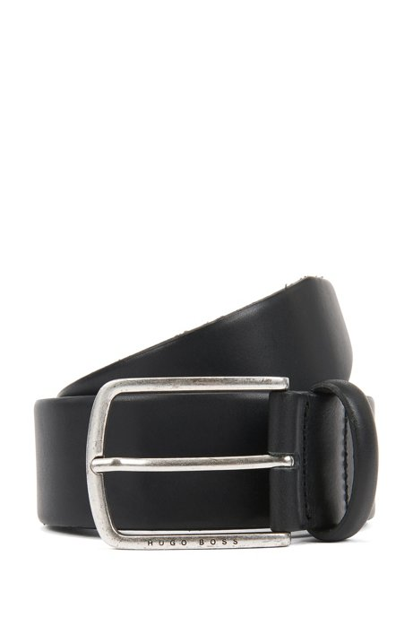 Pin-buckle belt in cuoio leather with brushed hardware, Black