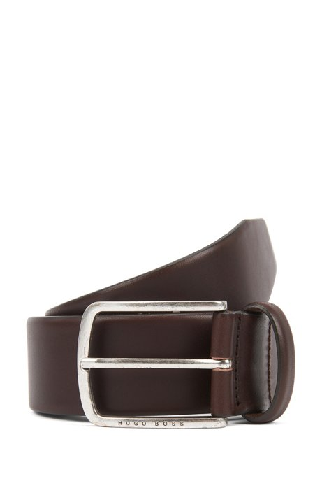 Pin-buckle belt in cuoio leather with brushed hardware, Dark Brown