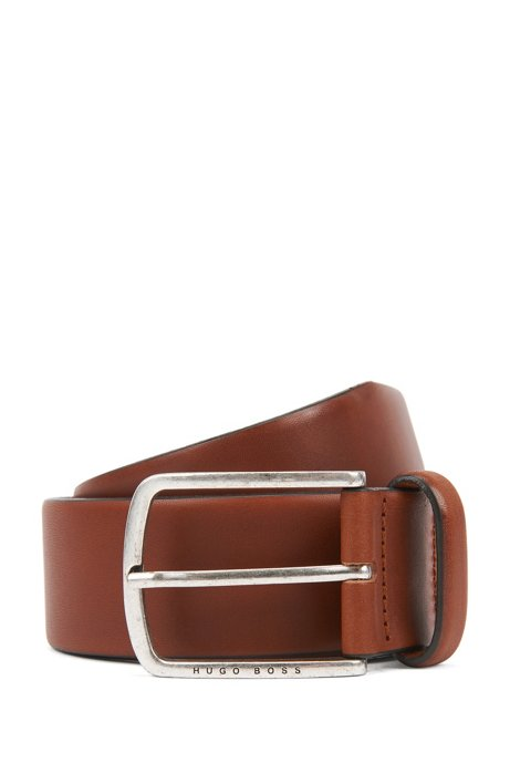 Pin-buckle belt in cuoio leather with brushed hardware, Brown