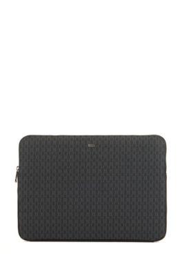 Laptop-Hülle mit Reißverschluss und Monogramm-Print, Schwarz