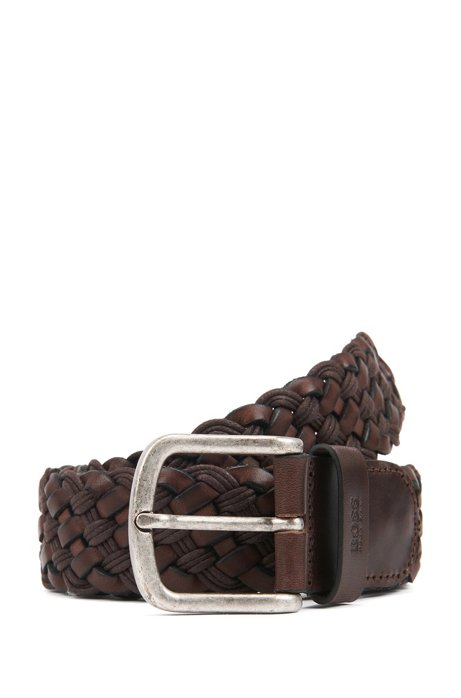 Woven belt in leather with rounded buckle, Dark Brown