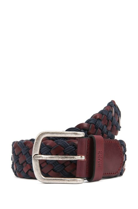 Woven belt in leather with rounded buckle, Brown