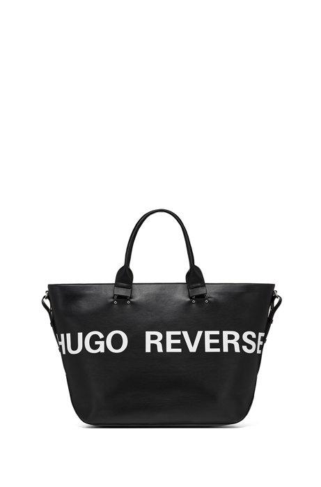 Shopper aus Kunstleder mit Logo, Schwarz