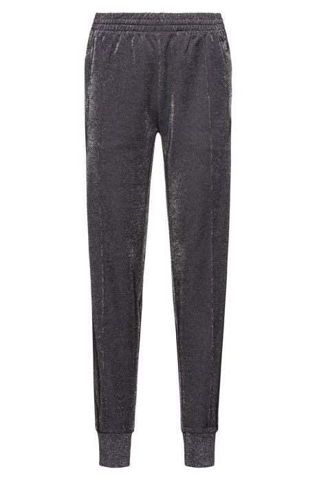 Relaxed-Fit Jogginghose aus glitzerndem Baumwoll-Mix, Grau