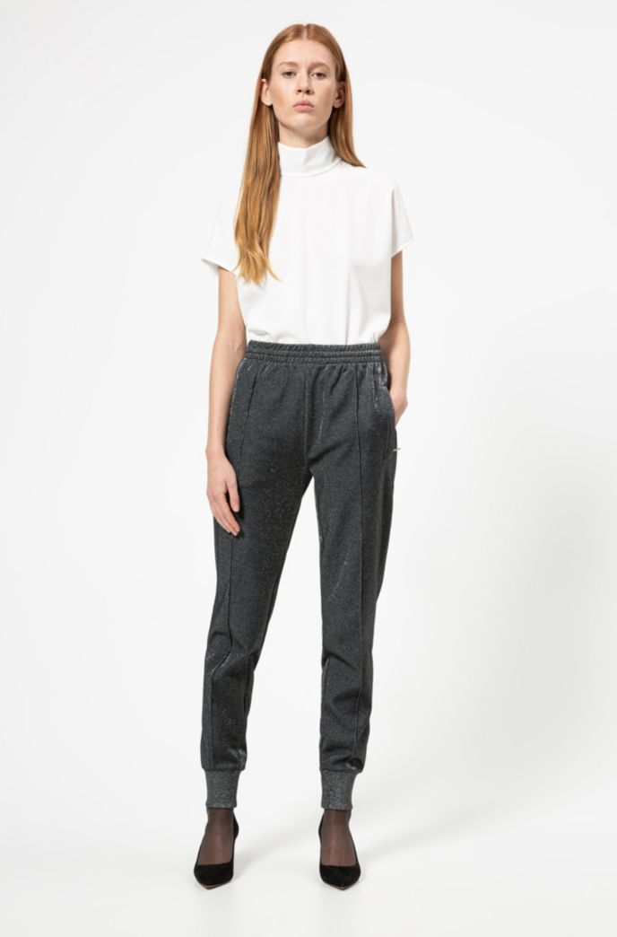 Relaxed-fit jogging trousers in a sparkly cotton blend
