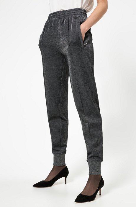 Pantaloni da jogging relaxed fit in misto cotone luccicante, Grigio