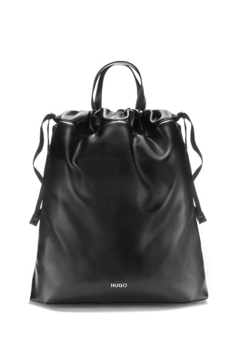 Faux-leather bag with drawstring and striped strap, Black