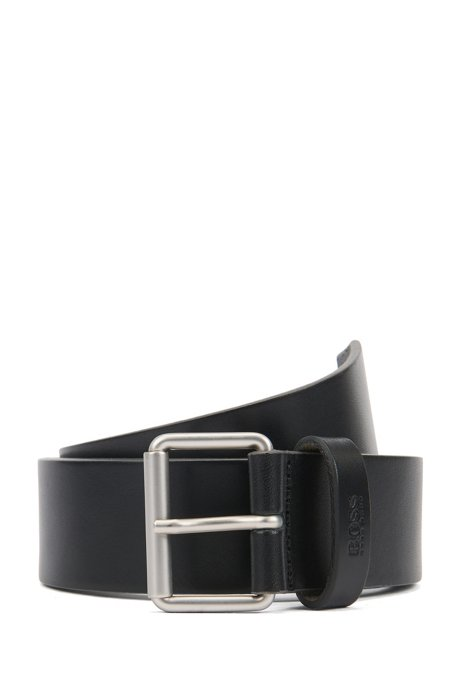 Leather belt with roller buckle in brushed silver, Black