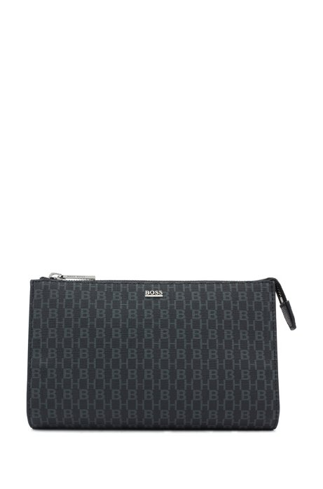 Vanity bag in monogram-printed fabric, Black