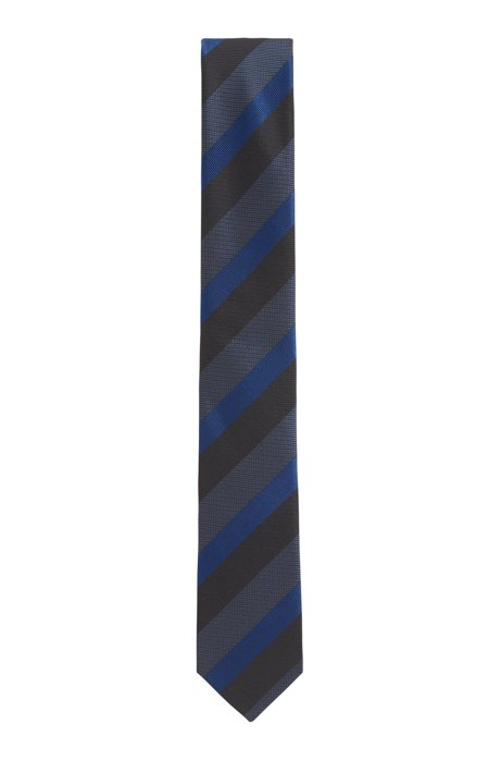 Diagonal-striped tie in silk jacquard, Turquoise