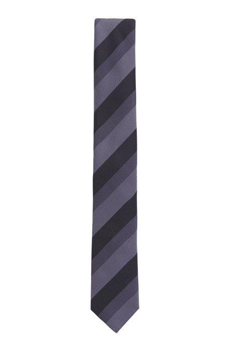 Diagonal-striped tie in silk jacquard, Dark Purple