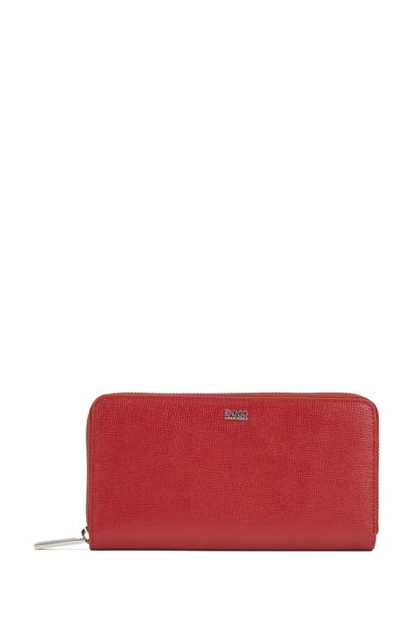 Portefeuille en cuir Saffiano avec fermeture éclair circulaire et plusieurs compartiments, Rouge